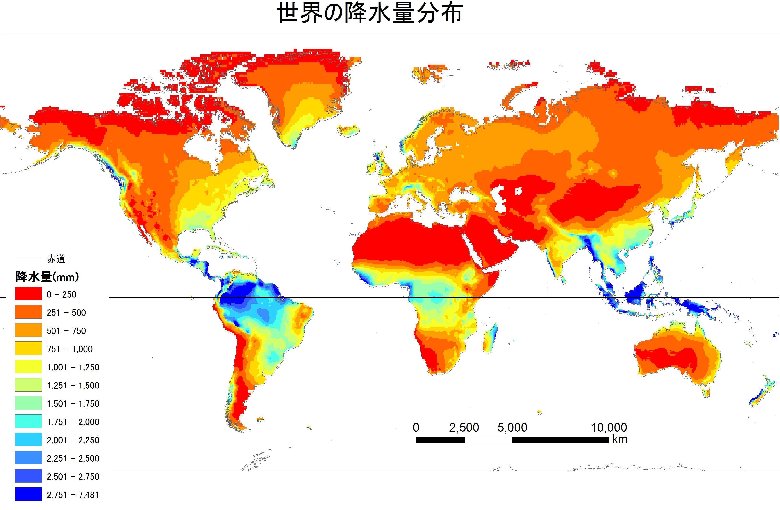 世界の年降水量の分布を表す ... : 世界地図 pdf : 世界地図