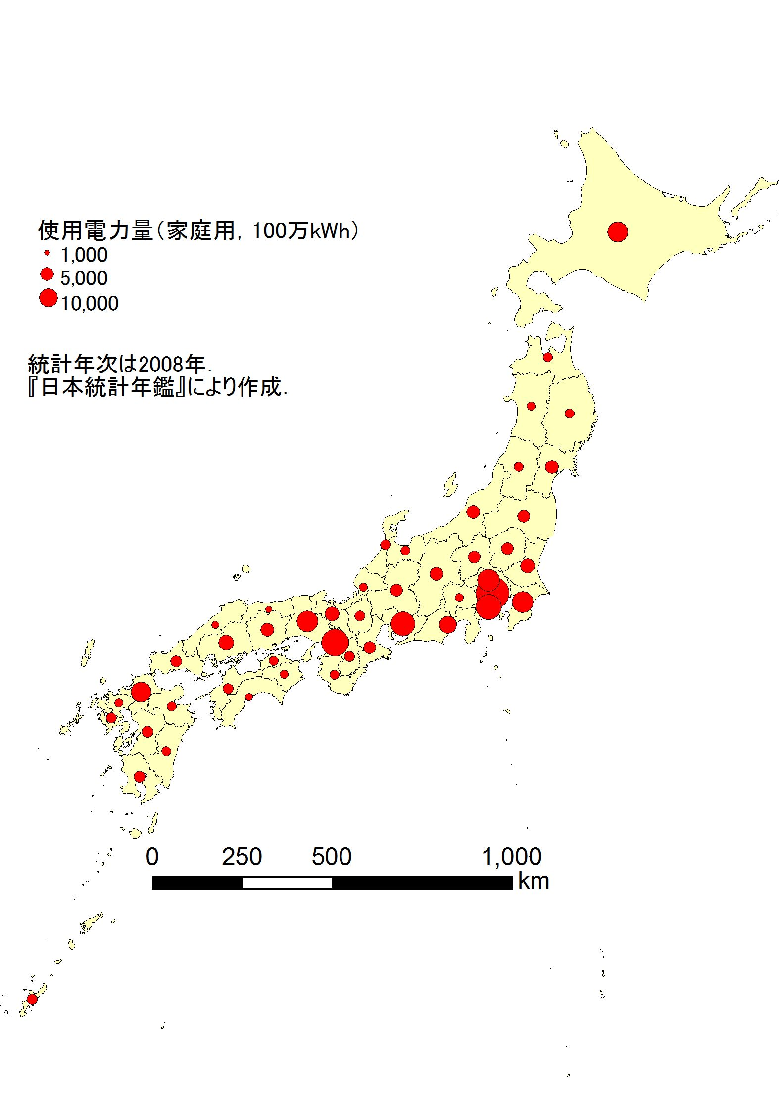 参考資料 ・日本の都道府県別家庭用電力使用量を示す図形表現図のjpegファイルはコチラ