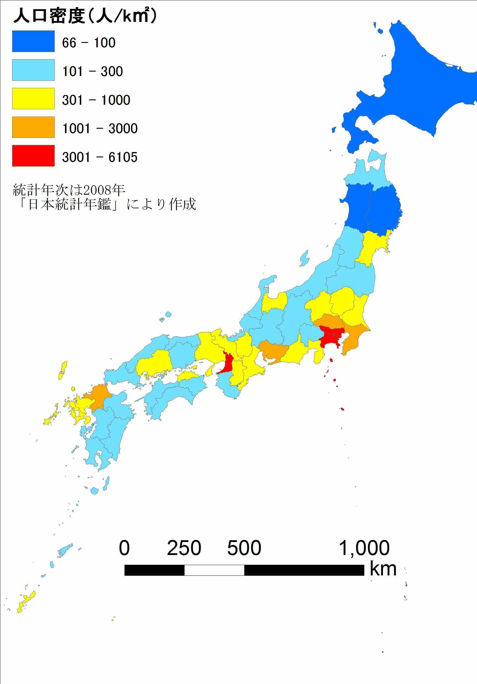 Japan Pop Density : 日本地図 教材 : 日本